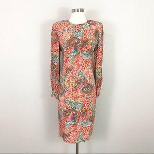 Vintage Liz Claiborne 10 100% Silk Satin Dress Paisley Floral